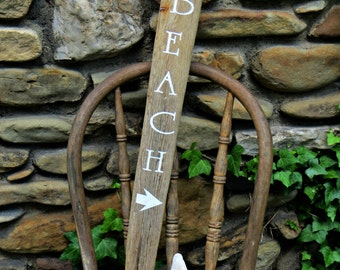 Hand-painted Beach Sign on Driftwood