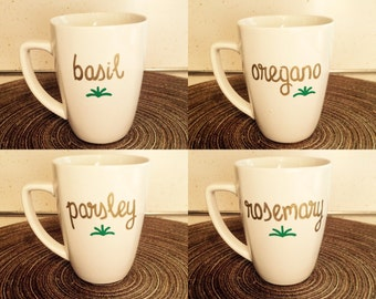 Basil, Oregano, Parsley, and Rosemary Herb Pots Mugs  | Hand-Designed Mugs | Made to Order