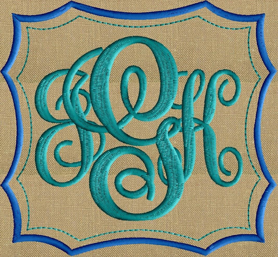 Double scallops font frame monogram design not