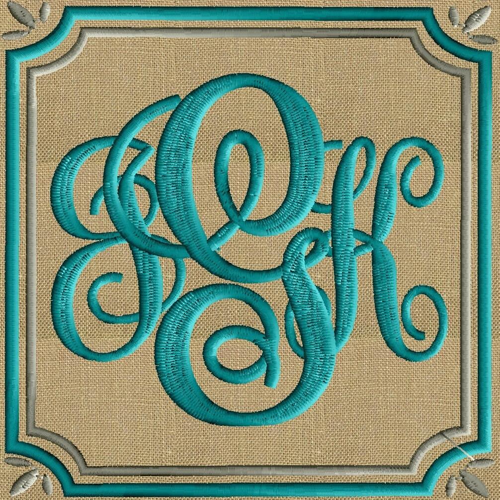 Leaf corner font frame monogram design not included