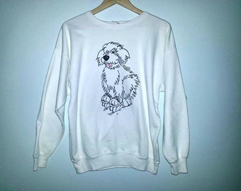 Vintage Dog Sweatshirt 80s Crew Neck Sweater Dog Ice Skating All White Soft Grunge Cute Animal Sweater Size Medium