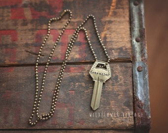 Traveller Key Necklace | Hand Stamped Vintage Chris Stapleton