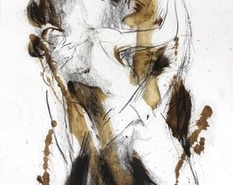 Dancing couple drawing, Giclee art print, Charcoal Sketch, Figurative Wall art print, Modern Artwork, Graphic art print, Wall decor print