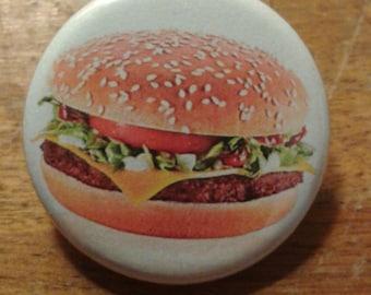 """cheeseburger 1.25"""" pinback button"""