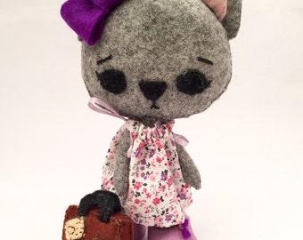 Handmade Grey Kitten/Cat - 100% Wool Felt