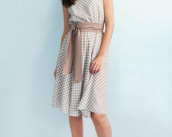 Summer polka-dot dress Light dress Beige dress