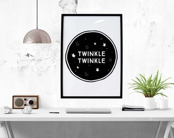 Twinkle Twinkle Print // Nursery Print, Nursery, Inspirational Print, Nursery Art, Monochrome, Little Star, Art, Home Decor, Poster