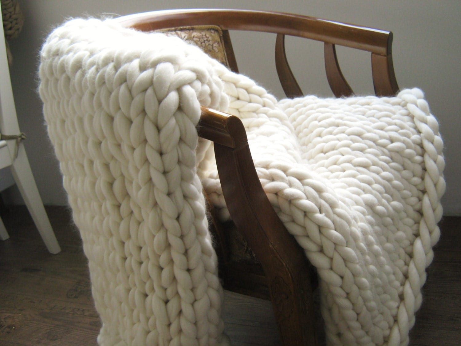 Knitting Wool Blanket : Chunky knit blanket wool arm wedding