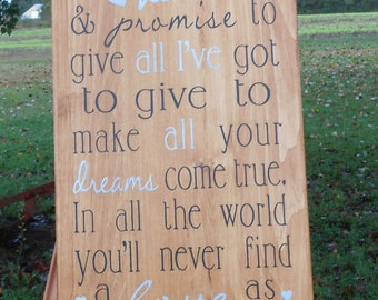 Personalized Hand painted wood sign, rustic wood sign, I cross my heart and promise to. Wedding gift, anniversary , personalizable.
