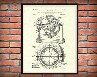 Patent 1902 Stellar Compass Nautical Art Print - Poster - Boat - Ship - Navigation Equipment - Stellar Compass - Nautical Art - Naval Art