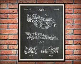 Patent 1990 Batman Batmobile - Art Print - Poster Print - Wall Art - Batman Car - Comic Book Art - Sci-Fi Hero - Gotham Knight