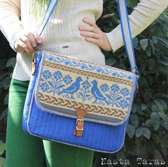Quilted Knitting Bag Pattern : Quilted messenger bag belarusian national pattern
