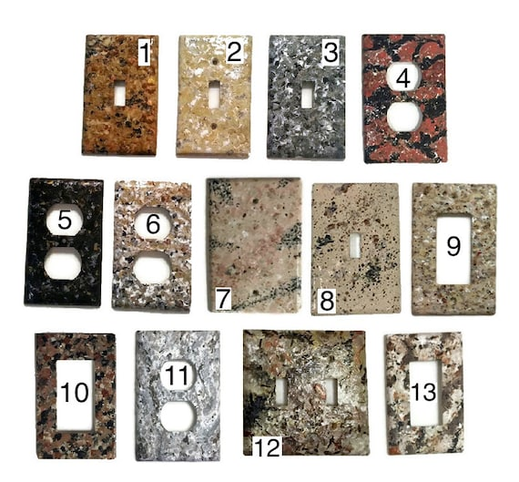 granite hand painted light switch plate by