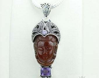 Plays a KEY Role! Kwan Yin Guanyin BUDDHA Goddess Face Moon Face 925 S0LID Sterling Silver Pendant + 4MM Chain & Free Shipping p3779