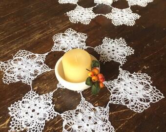 Unique Vintage Lace Doilies - Crochet Snowflakes - Crochet Lace Doilies - Vintage Crochet Doilies - Antique Lace Doilies - White Doilies