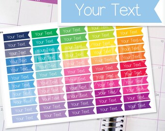 Planner Stickers Erin Condren Life Planner (Eclp) - 55 Custom Text Flag Header Stickers (#7014)