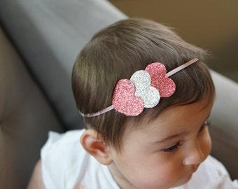 Pink and Silver. Heart Headband. Newborn Photo Prop. Baby Photo Prop. Pink Heart Headband. Valentine Headband. Newborn Headband.