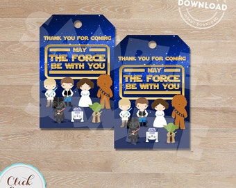 Galaxy wars Favor tags, Star wars Thank you Tags, Gift Favors, Party Decoration, Party Favors, Printable DIY, Instant download