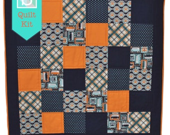Quick & Easy/Beginner's Quilt Kit in Riley Blake's Keep On Groovin' - Craft Kit, Boy's Quilt, Make Your Own Quilt