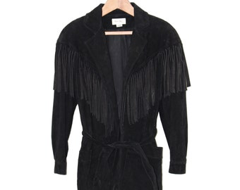 Vintage Black Suede Fringe Jacket - Small