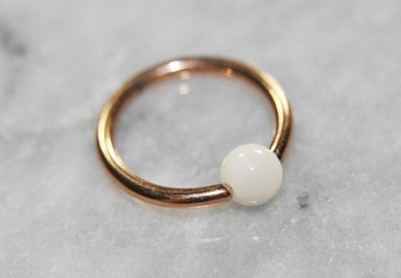 Ivory Stone Cartilage Hoop Rose Gold 316L SSS Captive Bead