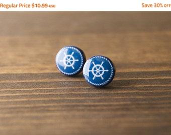 SALE - Nautical earrings, navy stud earrings, helm, minimalist, blue and white, stud earrings