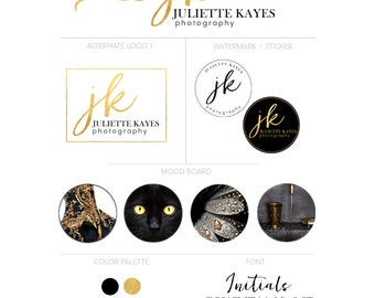 Black and gold Logo package - Photography logo - Branding kit - Gold Logo - Logo package - Customizable for any business
