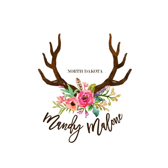 Photography Logos Deer Antlers Logo Graphic Design Boho