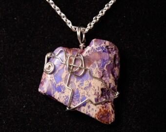 Purple Hearts Wire Wrapped Pendant