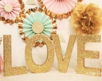 LOVE Sign Wood Letters, Wedding Sign, Wedding Centerpiece, Gold Wedding Decor, Glitter Love Sign, Sweetheart Table Decor, Freestanding