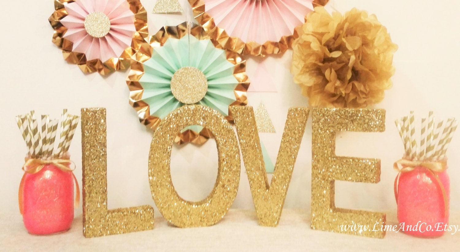 LOVE Sign Wood Letters, Bridal Shower Decorations, Wedding Sign ...