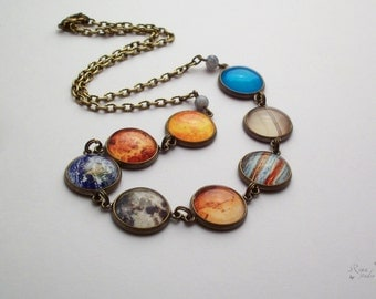 Planet Necklace, Solar System Necklace, Space Necklace, Romantic Gift Necklace, Cosmic Jewelry, Galaxy Nebula Necklace, Astronomical Jewelry