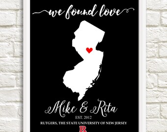 Valentine's Day, Couple's State Art, Rutgers Couple's Map, Personalized State Art, Anniversary Gift, Bridal Shower Gift, Housewarming Gift