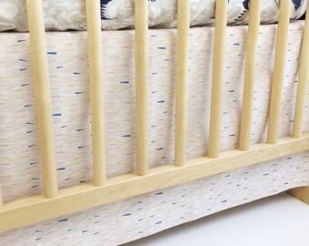 Organic Panel Crib Skirt in Lore Mythos in Pink - MADE-to-ORDER -- blush crib skirt, pale pink crib skirt, modern crib, blush baby bedding