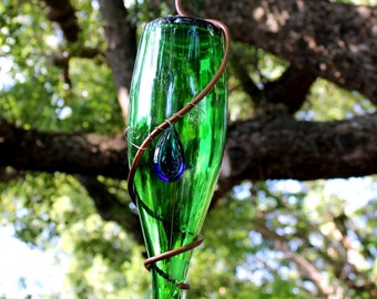 Copper Wrapped Green Glass Bottle Bird Feeder with Blue Glass Charm