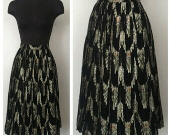 50s Black Printed Gold Metallic Holiday Full Circle Midi Skirt Medium