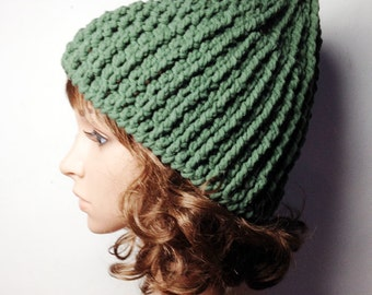 Green LOU Crocheted Hat - Hand Made Crocheted Hat -  Khaki Green Beanie Hat - Woman Hat - Man Hat - Ready To Ship