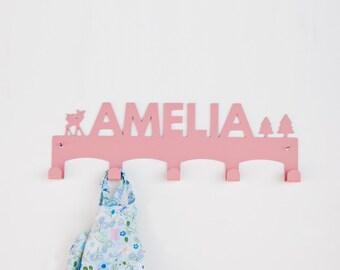 Amelia / Custom Coat Rack / Personalized wall Hanger / Girl Gifts / Baby Girl Coat rack / Girls Wall hook