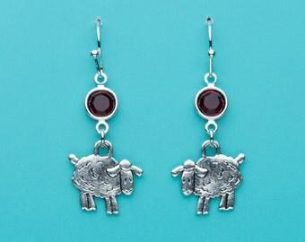 Sheep Earrings, Red Crystal Lamb Earrings, Baa Baa Black Sheep Earrings, Cute Sheep, Animal Earrings, Dangle Earrings, Gifts for Her, 436