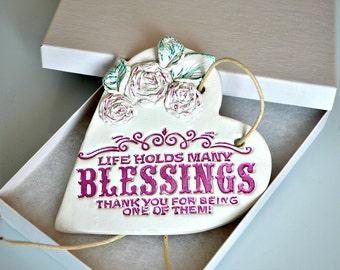 Religious thank you gift, Blessing quote clay heart plaque with roses, Religious quotes, Best friend present, Christian gift, Catholic gifts
