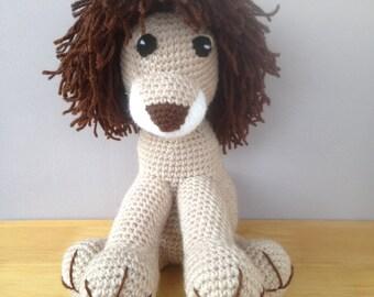 Handmade crochet lion toy