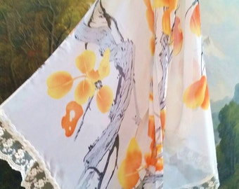 Scarf, OOAK scarf, embellished scarf, silk scarf, women's scarf, handmade scarf, handmade garment, new scarf, gifts for her, gifts under 20