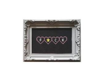 F*ck framed cross stitch