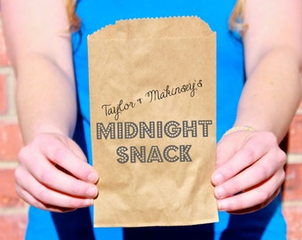 Midnight Snack, Favor Bags, Treat bags, Favor Bags - Kraft Paper Bags