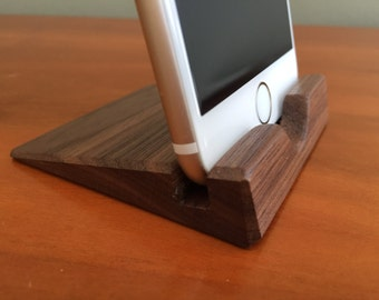 iPhone 6 Stand - Walnut - iPhone 6 Dock - Wood - Handmade - Wooden - Electronic Accessory