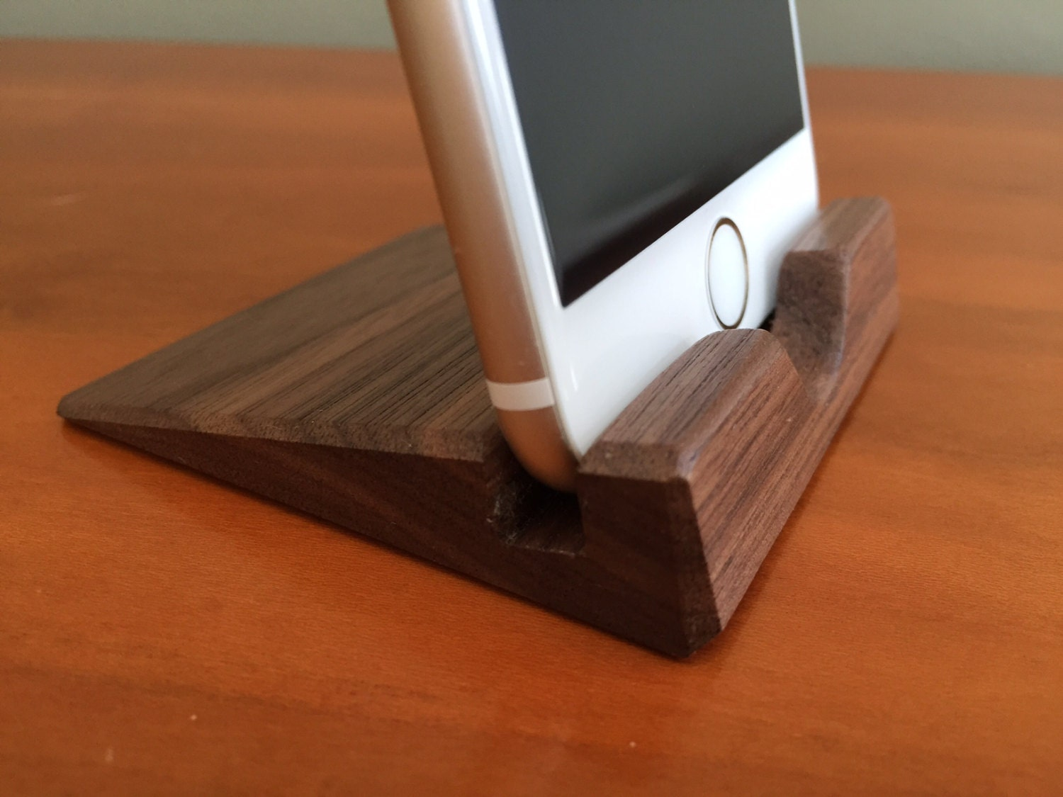 Iphone stand walnut dock wood handmade