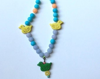 FREE SHIPPING, Colorful DuckNecklace, Little Girl, Toddler Jewelry, Duck Necklace, Little Girl Necklace, Girls Jewelry