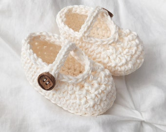Hand Crocheted Baby Mary Jane Shoes