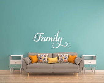family - vinyl decal - window decal - wall decal - home decor - family word decal - elegant decal