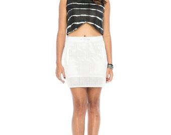 White Laser Cut Leather Skirt